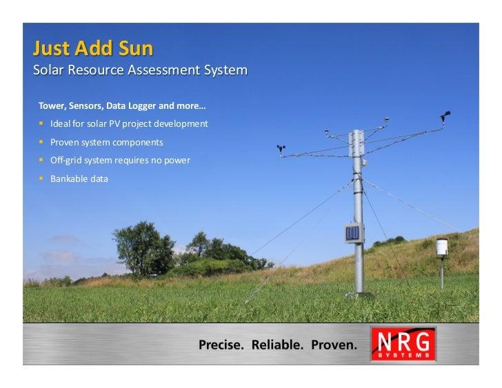 Just Add Sun Solar Resource Assessment System                          Tower, Sensors, Data Logger a...