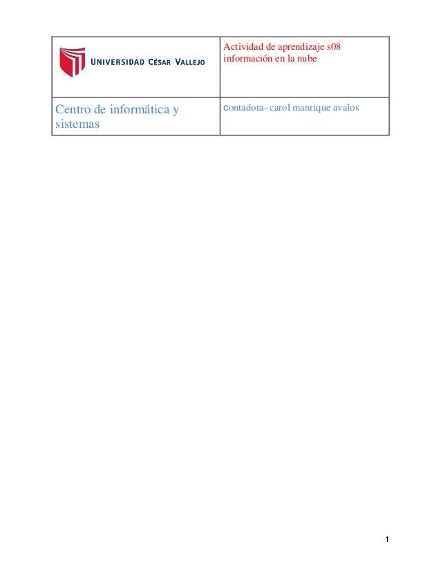 Actividad de aprendizaje s08  información en la nube  Centro de informática y  sistemas  contadora- carol manrique avalos ...