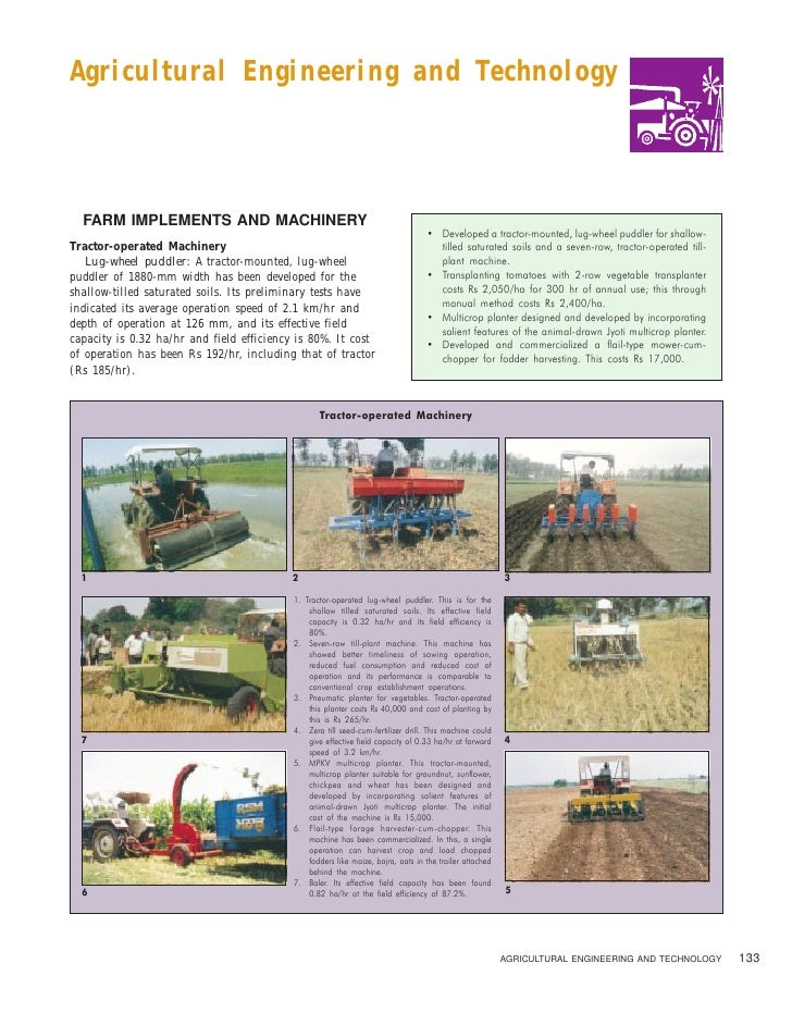 Agricultural Engineering and Technology  FARM IMPLEMENTS AND MACHINERY                                                    ...