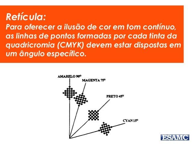 Retícula: Para oferecer a ilusão de cor em tom contínuo, as linhas de pontos formadas por cada tinta da quadricromia (CMYK...