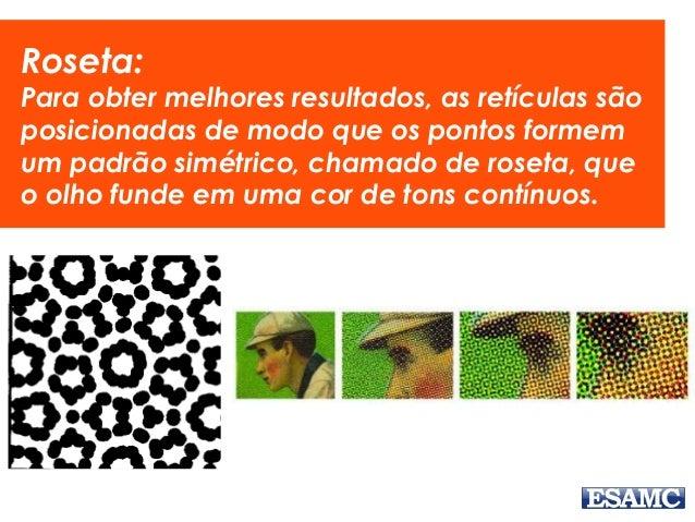 Roseta: Para obter melhores resultados, as retículas são posicionadas de modo que os pontos formem um padrão simétrico, ch...