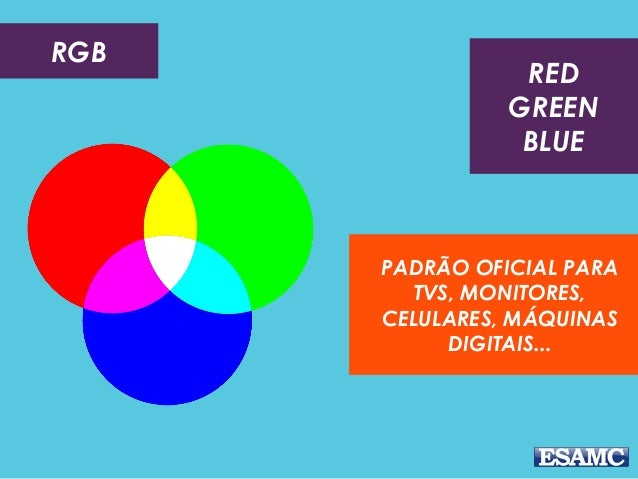 RGB PADRÃO OFICIAL PARA TVS, MONITORES, CELULARES, MÁQUINAS DIGITAIS... RED GREEN BLUE