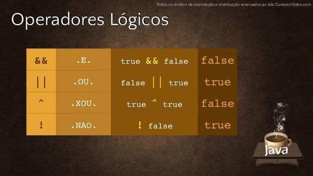 Todos os direitos de reprodução e distribuição reservados ao site CursoemVideo.com Operadores Lógicos && .E. true && false...
