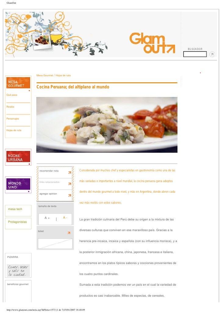 GlamOut                           Mesa Gourmet   / Hojas de ruta                           Cocina Peruana; del altiplano a...