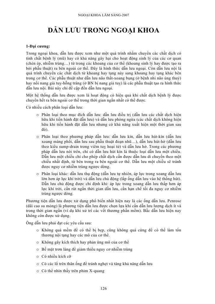 NGOẠI KHOA LÂM SÀNG-2007                DẪN LƯU TRONG NGOẠI KHOA  1-Đại cương: Trong ngoại khoa, dẫn lưu được xem như một ...