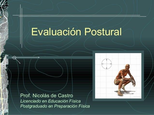 Evaluación PosturalProf. Nicolás de CastroLicenciado en Educación FísicaPostgraduado en Preparación Física