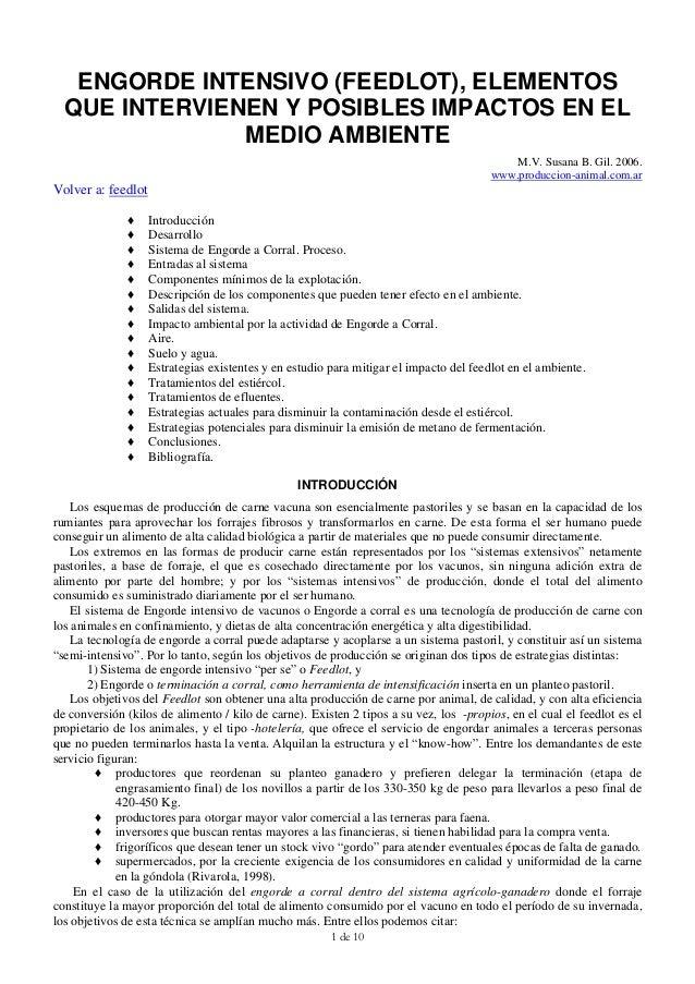ENGORDE INTENSIVO (FEEDLOT), ELEMENTOS  QUE INTERVIENEN Y POSIBLES IMPACTOS EN EL               MEDIO AMBIENTE            ...
