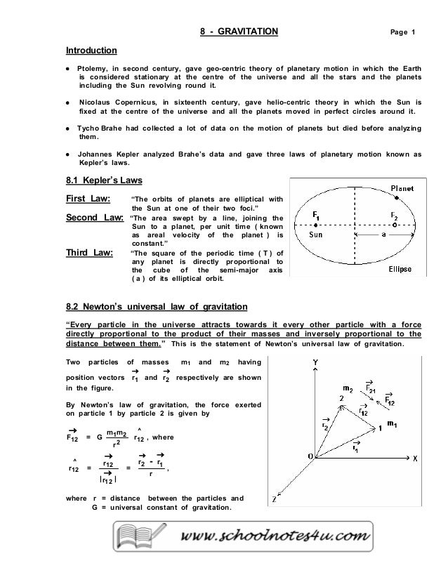 8 - GRAVITATION Page 1 Introduction • Ptolemy, in second century, gave geo-centric theory of planetary motion in which the...