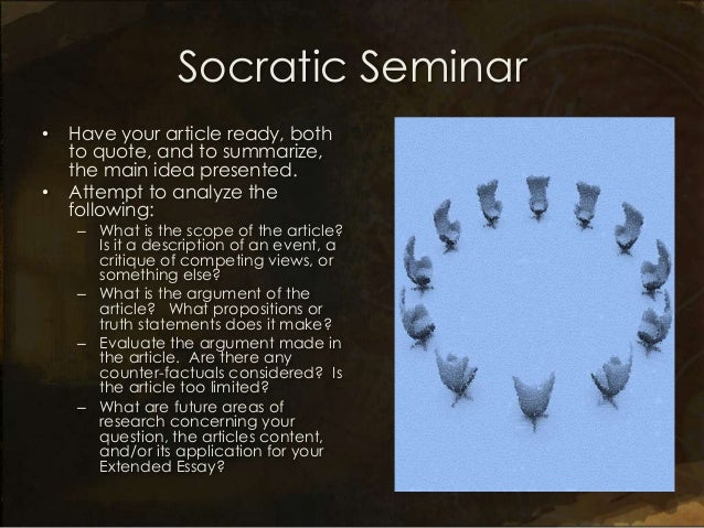socratic seminar for the lottery discussion Socratic seminar a reading and discussion strategy description: based on the socratic method, the primary functions of this strategy are to encourage.