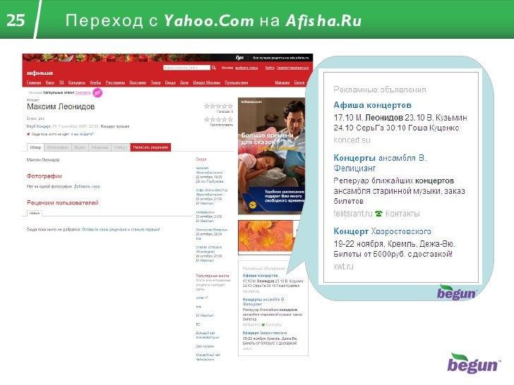 Переход с  Yahoo.Com  на  Afisha.Ru