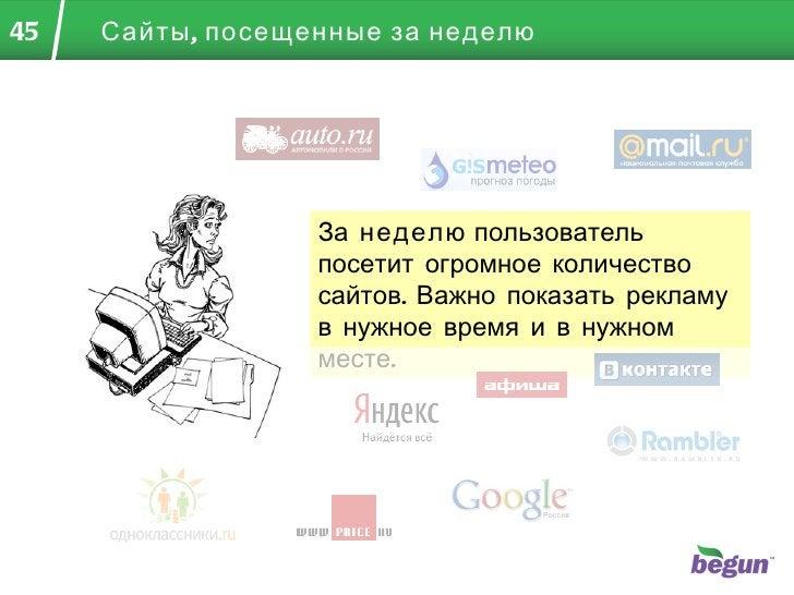 Сайты, посещенные за неделю За  неделю  пользователь посетит огромное количество сайтов. Важно показать рекламу в нужное в...