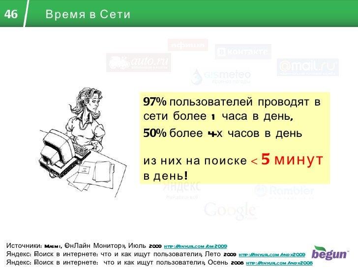 Время в Сети Источники:  Masmi , «ОнЛайн Монитор», Июль 2009  http://tinyurl.com/om2009 Яндекс: «Поиск в интернете: что и ...