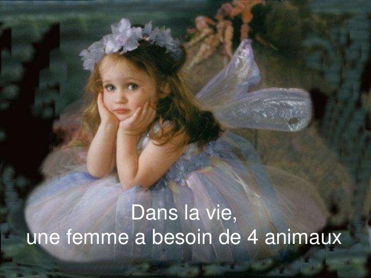 Dans la vie,une femme a besoin de 4 animaux