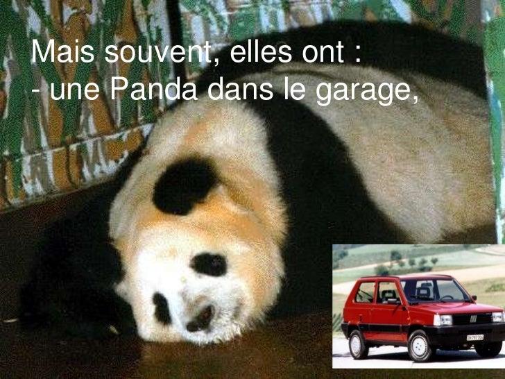 Mais souvent, elles ont :- une Panda dans le garage,