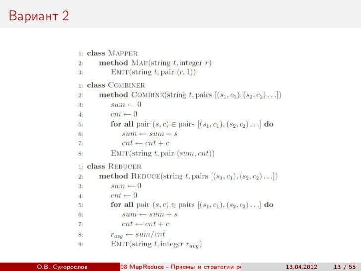 Вариант 2    О.В. Сухорослов   08 MapReduce - Приемы и стратегии реализации                          ()                   ...