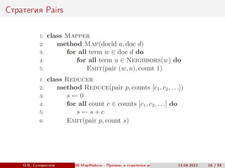 Стратегия Pairs    О.В. Сухорослов   08 MapReduce - Приемы и стратегии реализации                          ()             ...