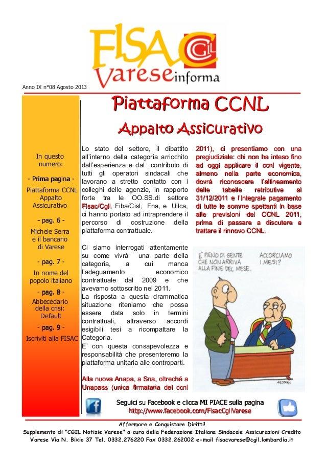 """Affermare e Conquistare Diritti! Supplemento di """"CGIL Notizie Varese"""" a cura della Federazione Italiana Sindacale Assicura..."""