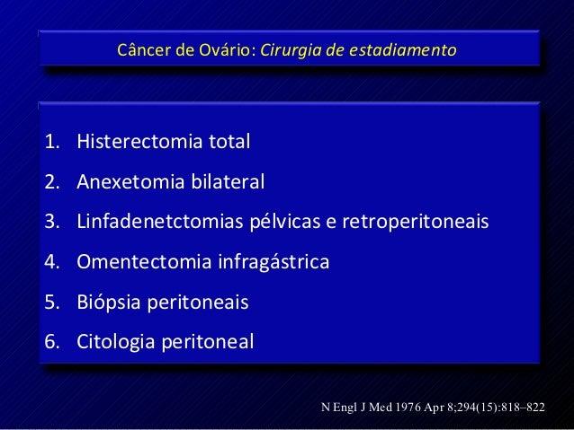 Câncer de Ovário: Cirurgia de estadiamento1. Histerectomia total2. Anexetomia bilateral3. Linfadenetctomias pélvicas e ret...