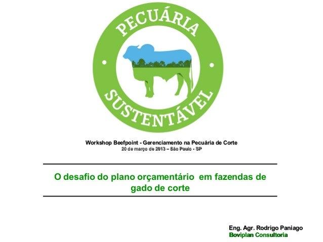 Workshop Beefpoint - Gerenciamento na Pecuária de Corte                   20 de março de 2013 – São Paulo - SPO desafio do...