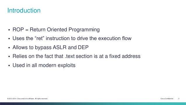08 - Return Oriented Programming, the chosen one Slide 2