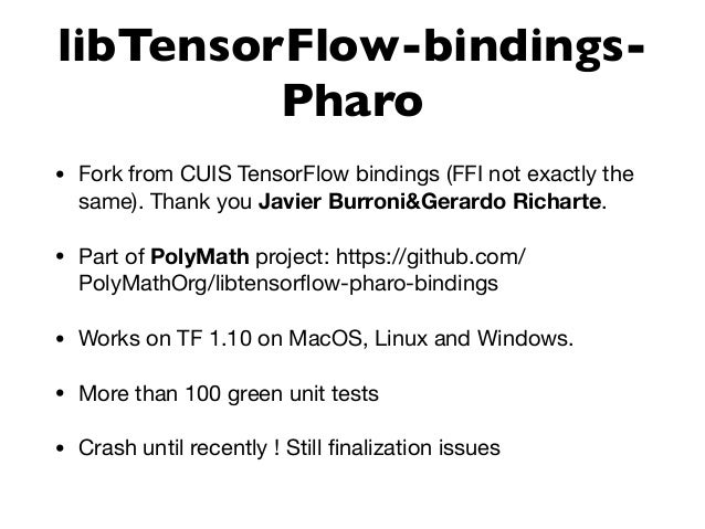 Towards Machine Learning in Pharo with TensorFlow