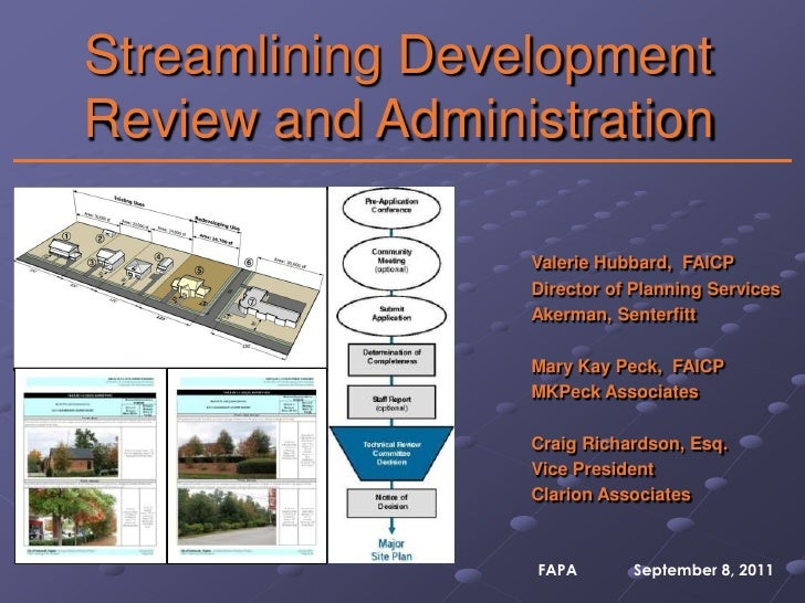 Streamlining Development Review and Administration<br />Valerie Hubbard,  FAICP<br />Director of Planning Services<br />Ak...