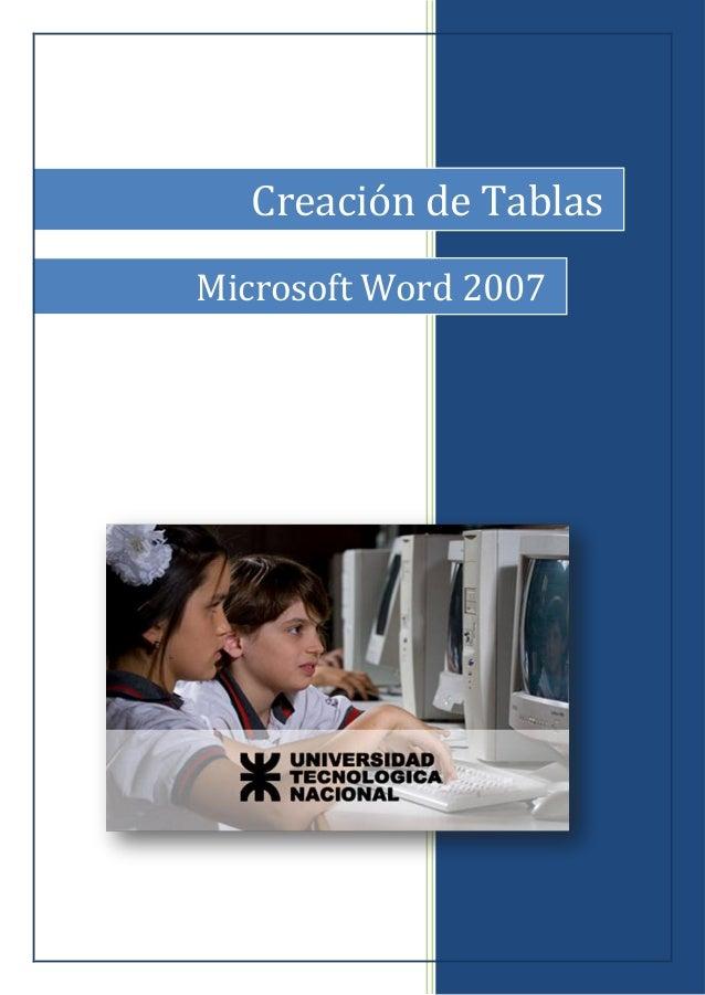 Creación de Tablas Microsoft Word 2007