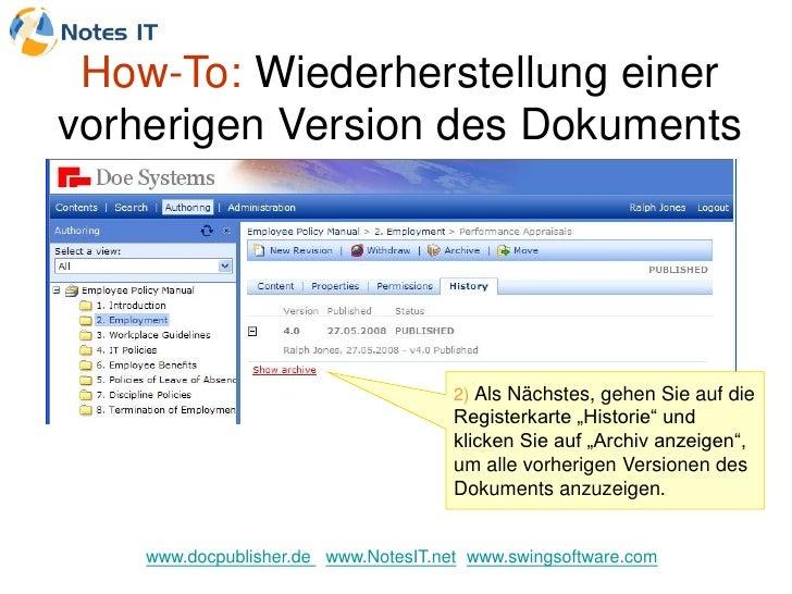 How-To: Wiederherstellung einer vorherigen Version des Dokuments                                           2) Als Nächstes...