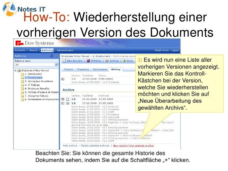 How-To: Wiederherstellung einer vorherigen Version des Dokuments                                           3) Es wird nun ...