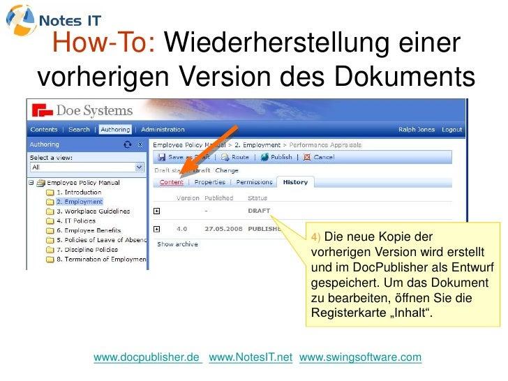 How-To: Wiederherstellung einer vorherigen Version des Dokuments                                              4) Die neue ...