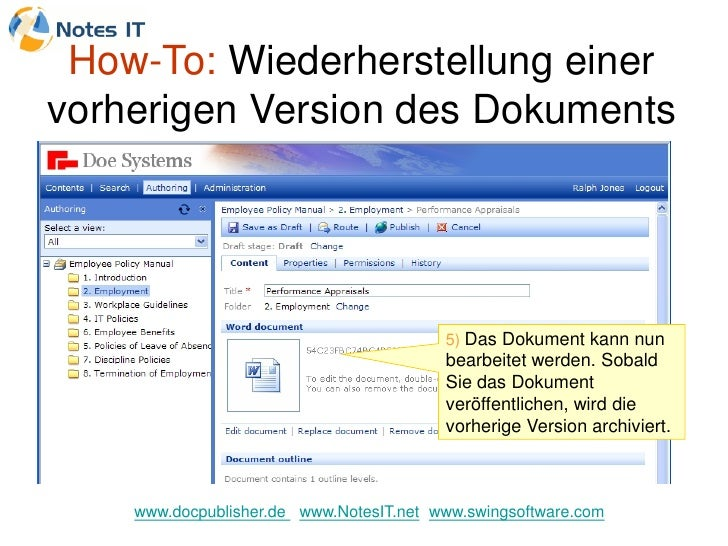 How-To: Wiederherstellung einer vorherigen Version des Dokuments                                              5) Das Dokum...