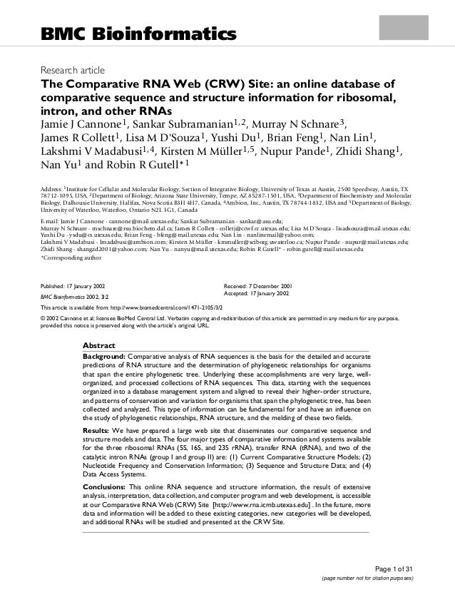 Page 1 of 31(page number not for citation purposes)BMC BioinformaticsBMC Bioinformatics2002, 3Research articleThe Comparat...