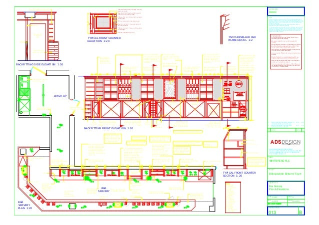 Plan And Elevation Of Restaurant : Bar servery plan elevations for pub restaurant