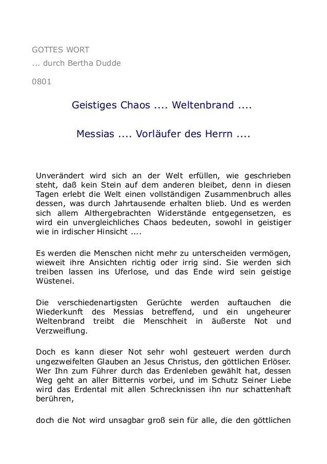 GOTTES WORT ... durch Bertha Dudde 0801  Geistiges Chaos .... Weltenbrand .... Messias .... Vorläufer des Herrn ....  Unve...