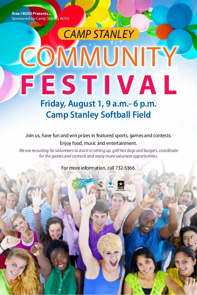 COMMUNITY F E S T I VA L CAMP STANLEY For more information, call 732-5366. Join us, have fun and win prizes in featured sp...