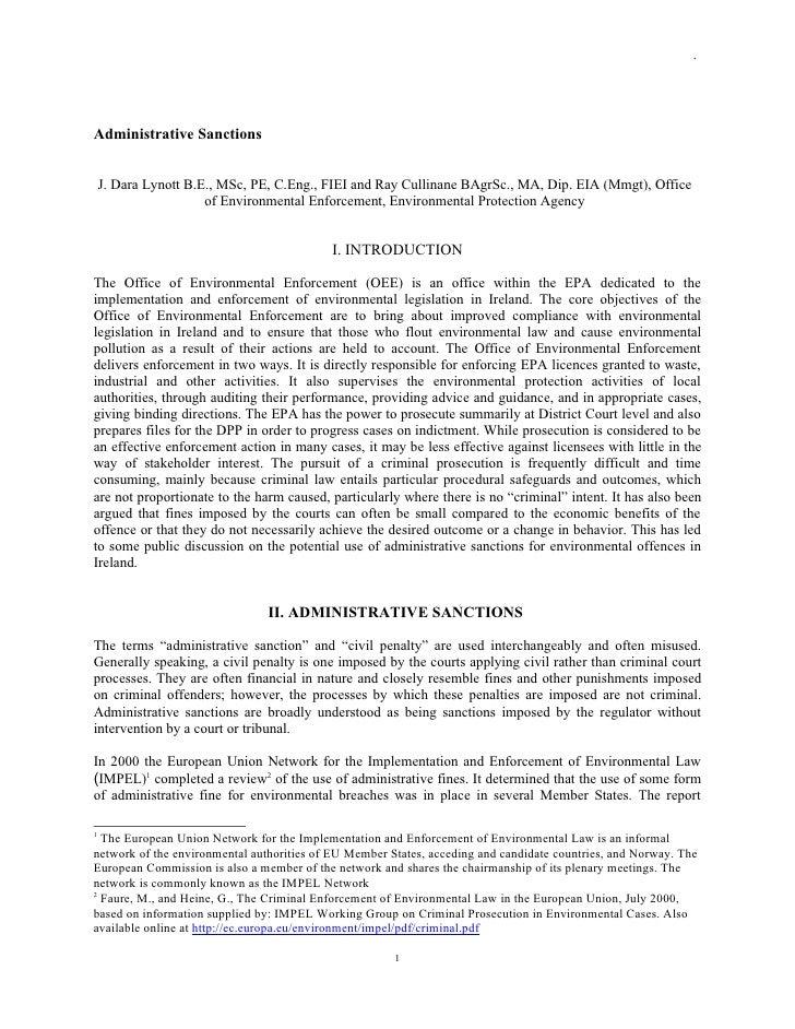 .     Administrative Sanctions       J. Dara Lynott B.E., MSc, PE, C.Eng., FIEI and Ray Cullinane BAgrSc., MA, Dip. EIA (M...