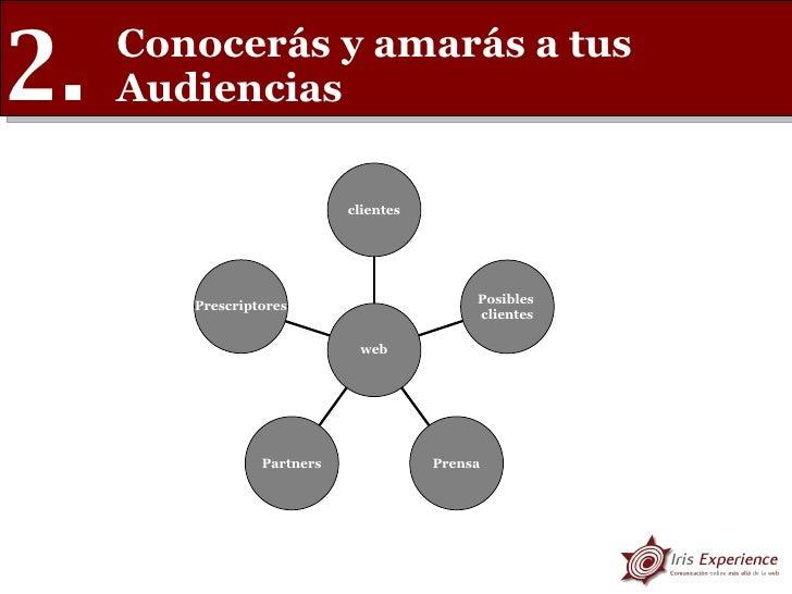 Conocerás y amarás a tus Audiencias 2. Prescriptores Partners Prensa Posibles  clientes clientes web