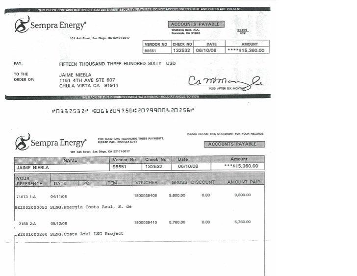 080610 CHEQUES DE PAGO DE SEMPRA ENERGY,  POR ESPIONAJE EN ENSENADA