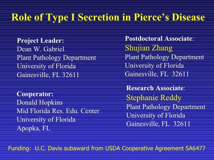 Role of Type I Secretion in Pierce's Disease Project Leader:  Dean W. Gabriel Plant Pathology Department University of Flo...