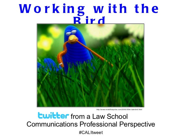 Working with the Bird from a Law School  Communications Professional Perspective #CALItweet http://www.nicksflickpicks.com...