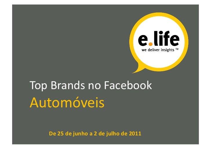 Top Brands no Facebook Automóveis      De 25 de junho a 2 de julho de 2011