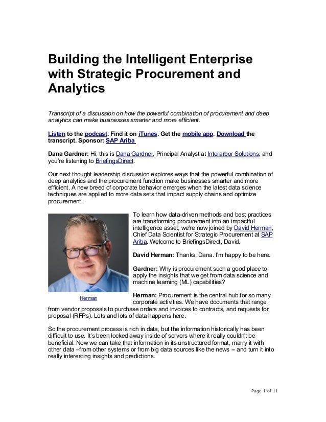 Page 1 of 11 Building the Intelligent Enterprise with Strategic Procurement and Analytics Transcript of a discussion on ho...