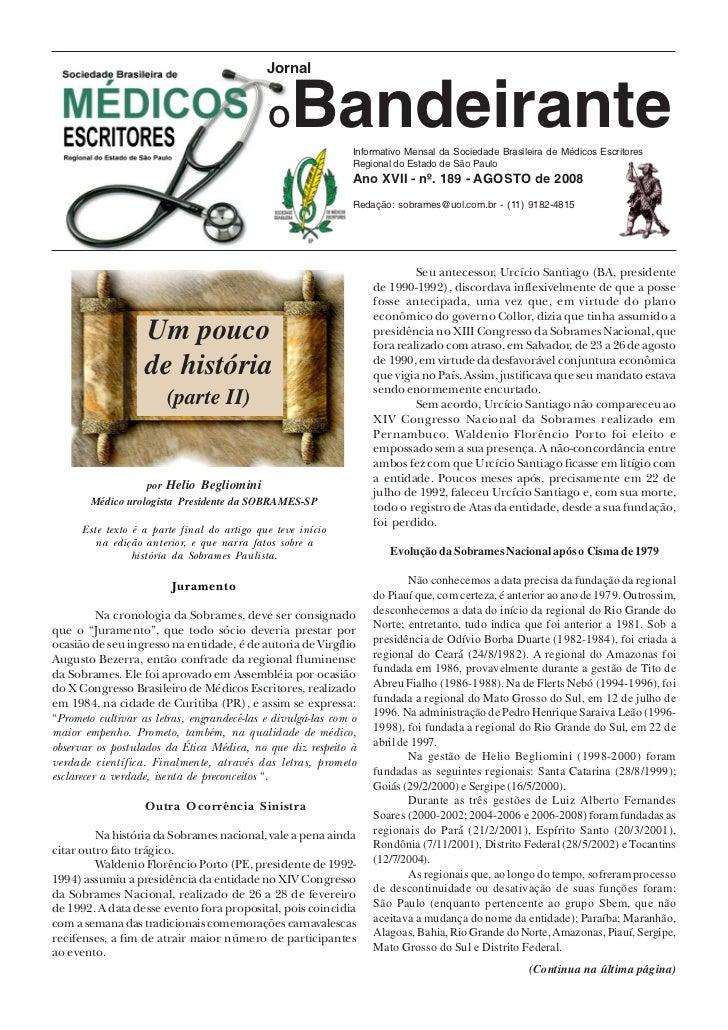 Jornal                                             O    Bandeirante Informativo Mensal da Sociedade Brasileira de Médicos ...