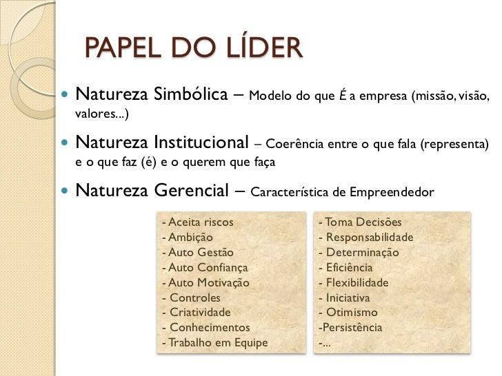 PAPEL DO LÍDER   Natureza Simbólica – Modelo do que É a empresa (missão, visão,    valores...)   Natureza Institucional ...