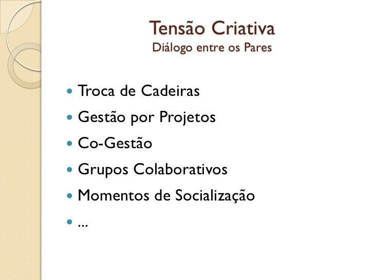 Tensão Criativa              Diálogo entre os Pares   Troca de Cadeiras   Gestão por Projetos   Co-Gestão   Grupos Col...