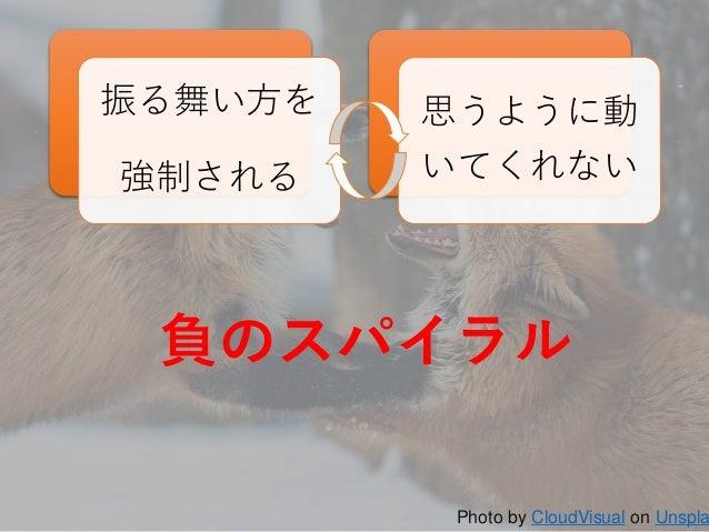12 振る舞い方を 強制される 思うように動 いてくれない Photo by CloudVisual on Unspla 負のスパイラル