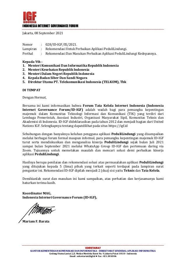 INDONESIA INTERNET GOVERNANCE FORUM Mariam F. Barata Jakarta, 08 September 2021 Nomor : 028/ID-IGF/IX/2021. Lampiran : Rek...