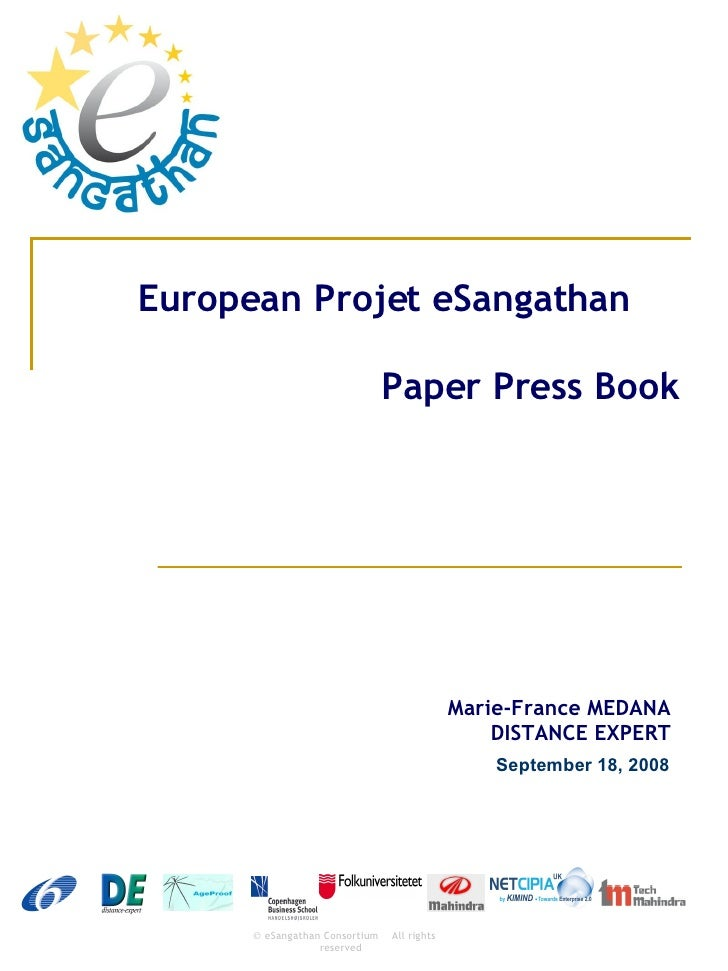 European Projet eSangathan Paper Press Book