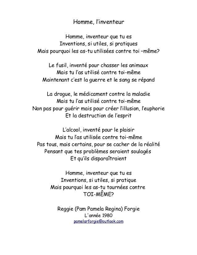 Extra 21 De Mes Poèmes De Reggiepam Forgie En Français Et
