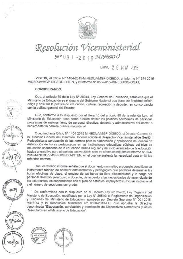 RESOLUCIÓN VICEMINISTERIAL 081 - 2015